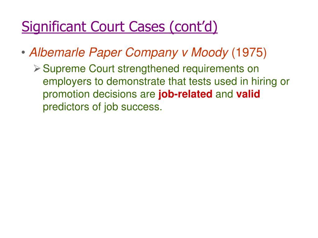 Significant Court Cases (cont'd)