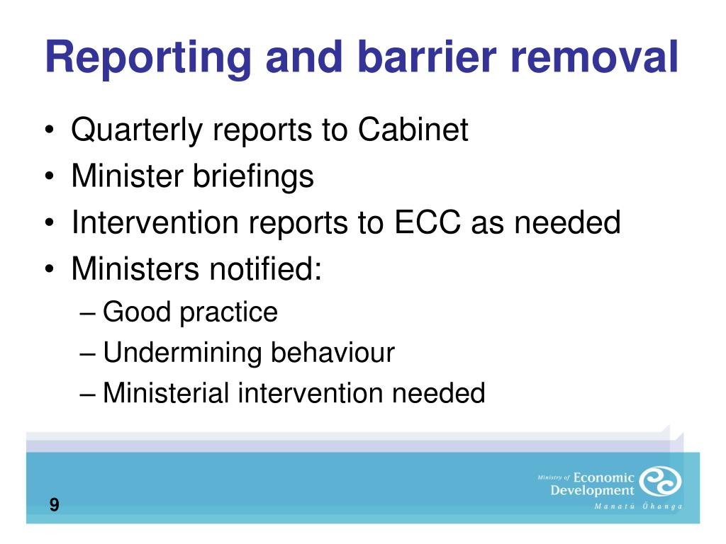 Reporting and barrier removal