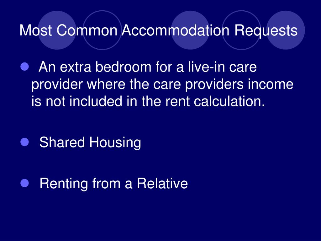 Most Common Accommodation Requests