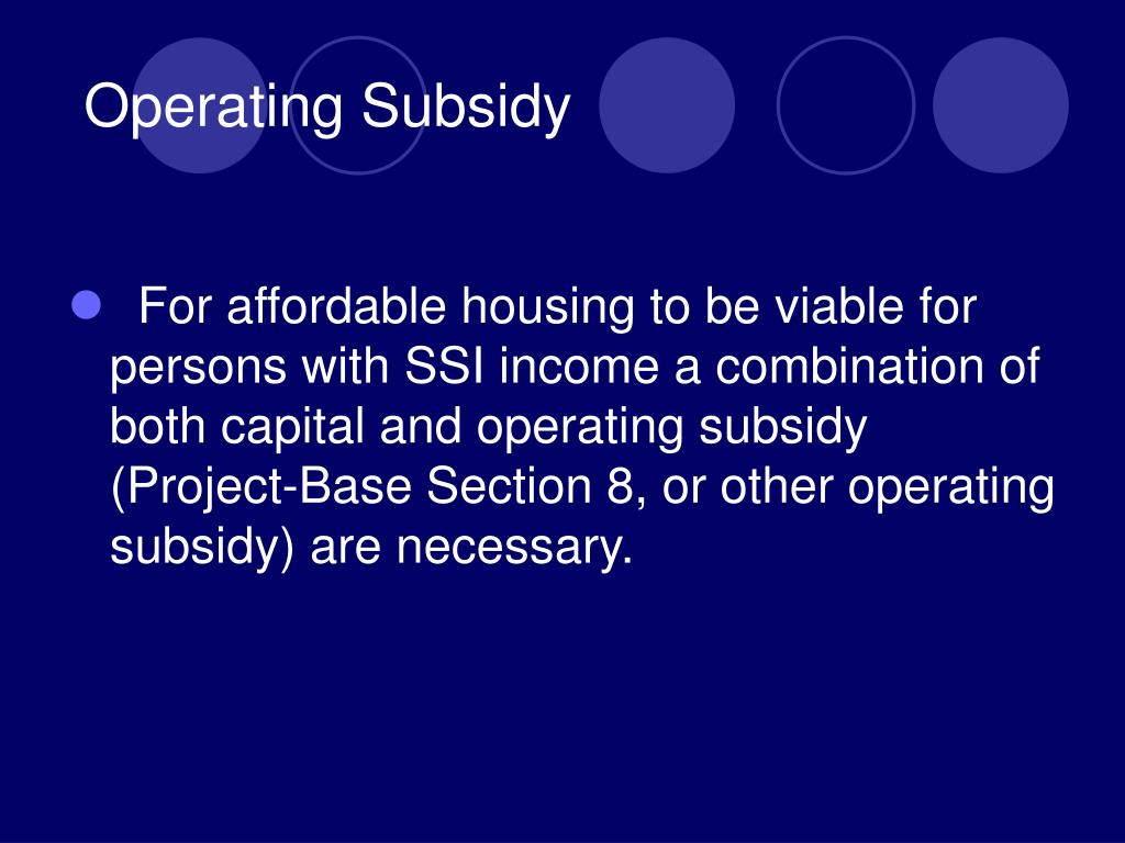 Operating Subsidy