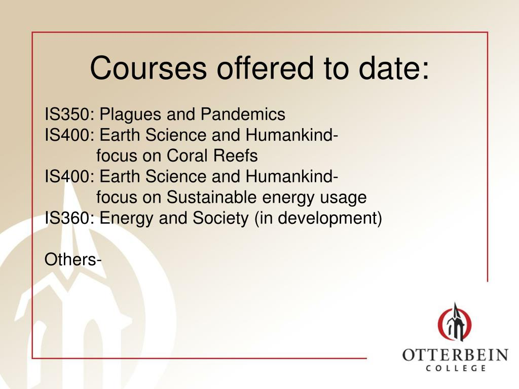 Courses offered to date: