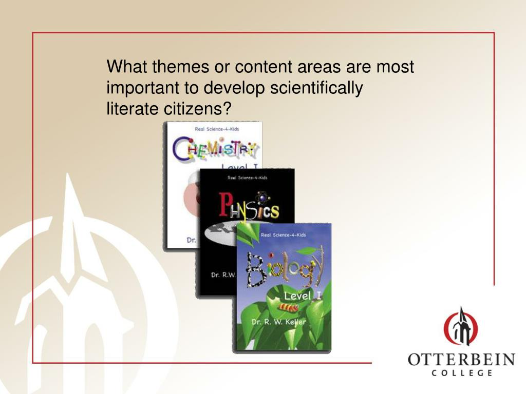 What themes or content areas are most important to develop scientifically literate citizens?