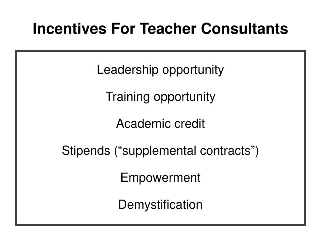 Incentives For Teacher Consultants