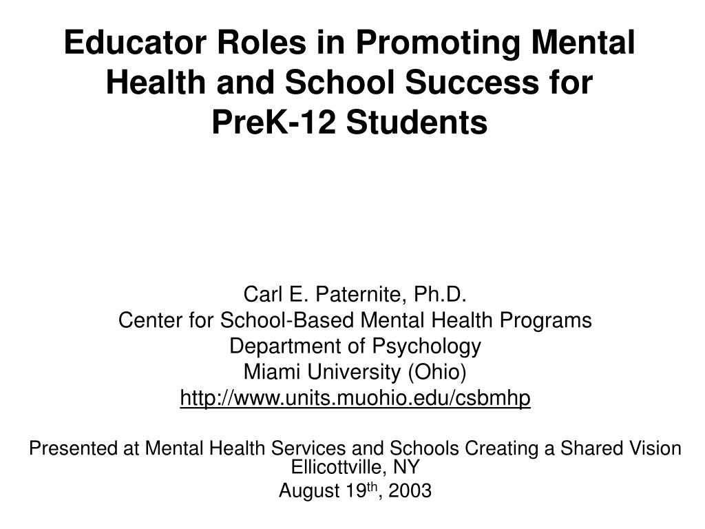 Educator Roles in Promoting Mental Health and School Success for