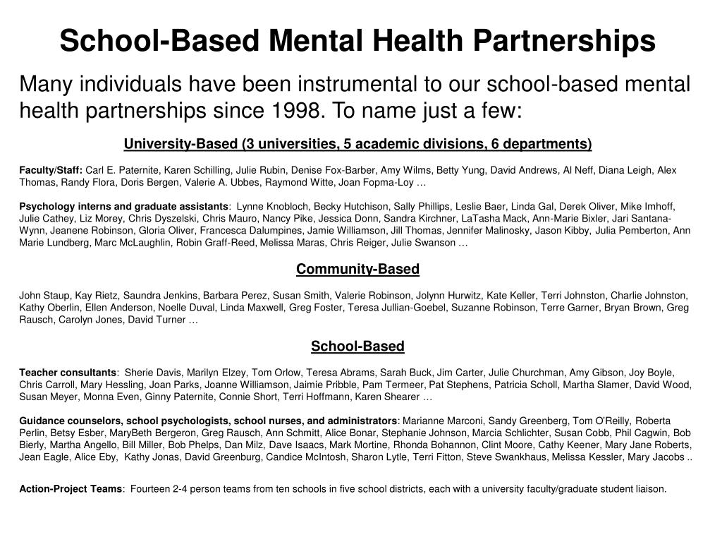 School-Based Mental Health Partnerships