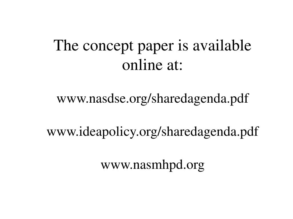 The concept paper is available online at: