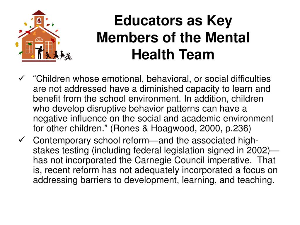 Educators as Key Members of the Mental Health Team