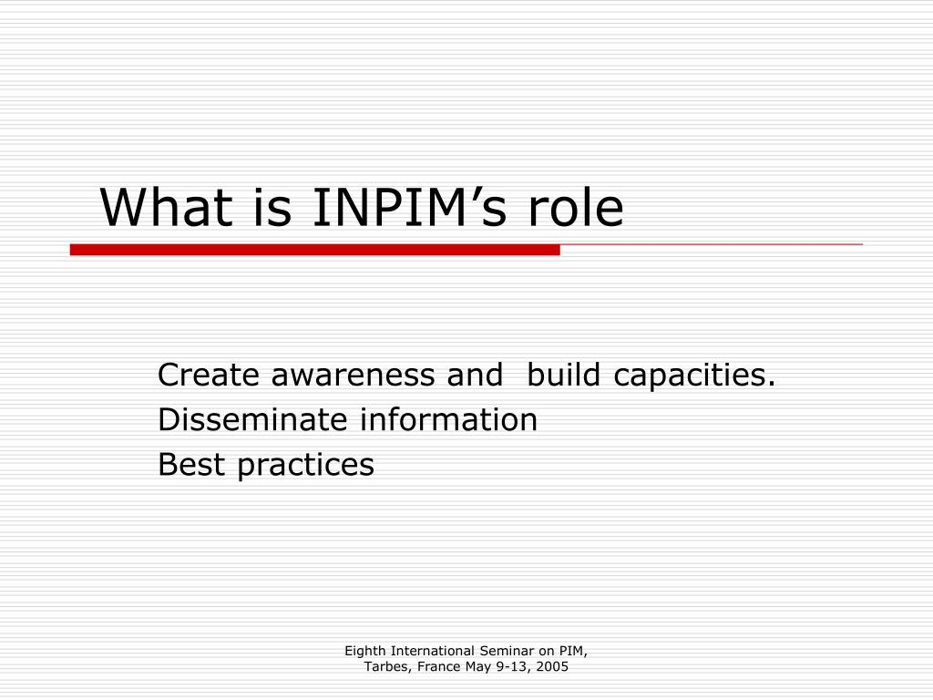 What is INPIM's role