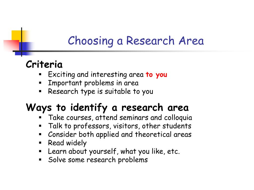 Choosing a Research Area