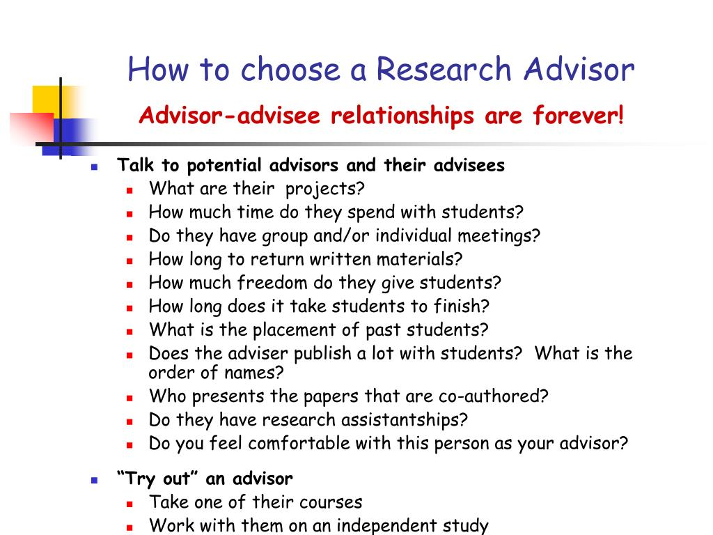 How to choose a Research Advisor