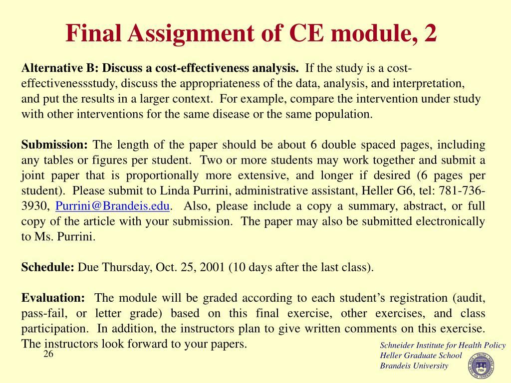 Final Assignment of CE module, 2