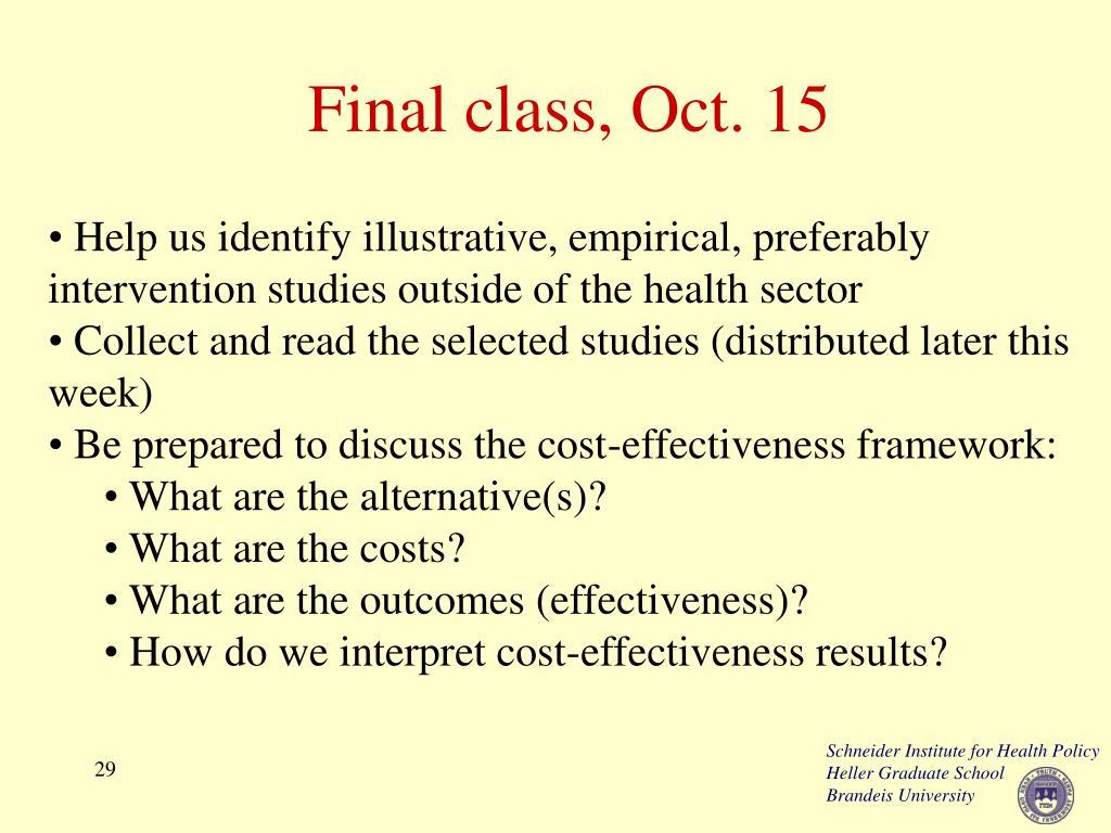Final class, Oct. 15