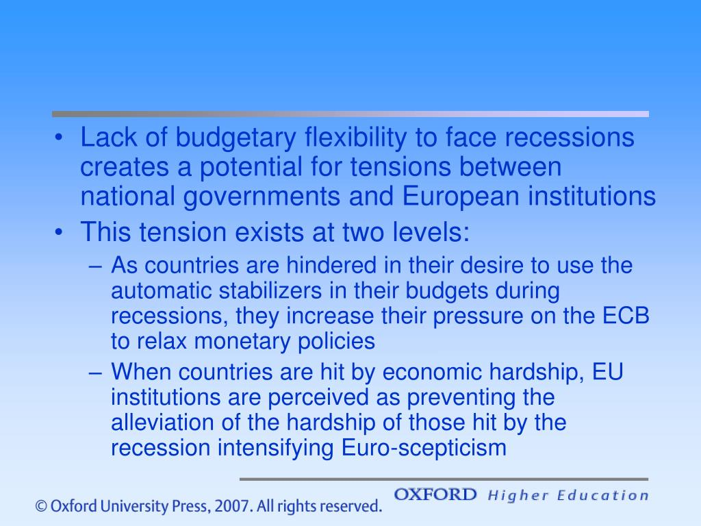 Lack of budgetary flexibility to face recessions creates a potential for tensions between national governments and European institutions