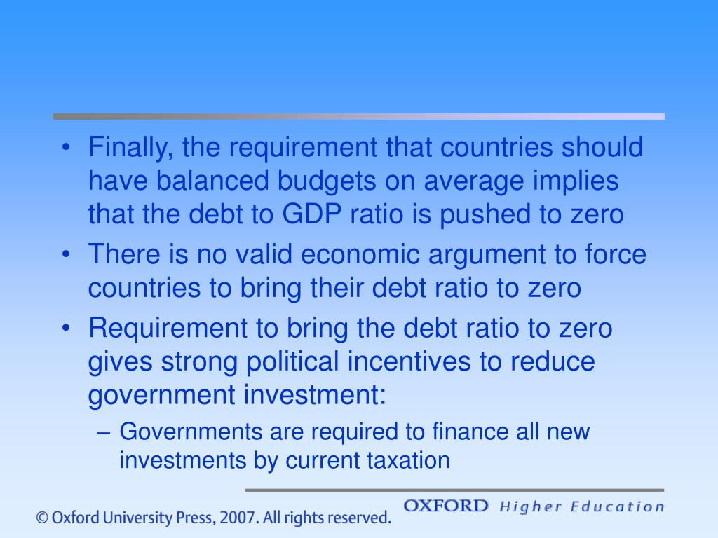 Finally, the requirement that countries should have balanced budgets on average implies that the debt to GDP ratio is pushed to zero