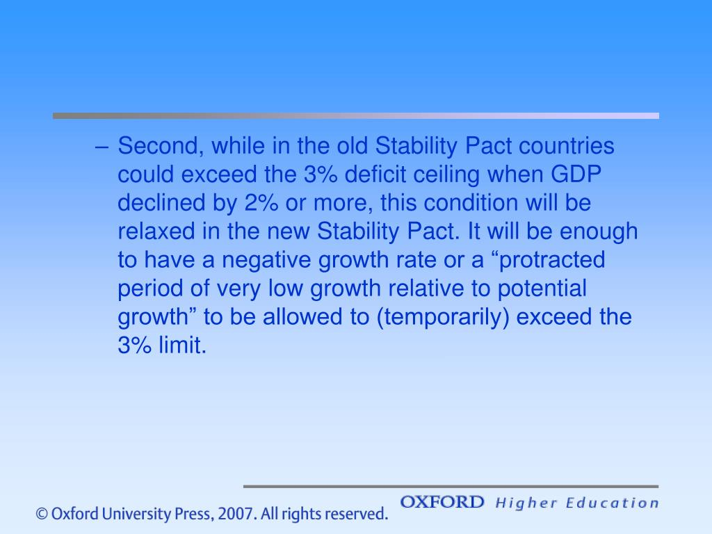 "Second, while in the old Stability Pact countries could exceed the 3% deficit ceiling when GDP declined by 2% or more, this condition will be relaxed in the new Stability Pact. It will be enough to have a negative growth rate or a ""protracted period of very low growth relative to potential growth"" to be allowed to (temporarily) exceed the 3% limit."