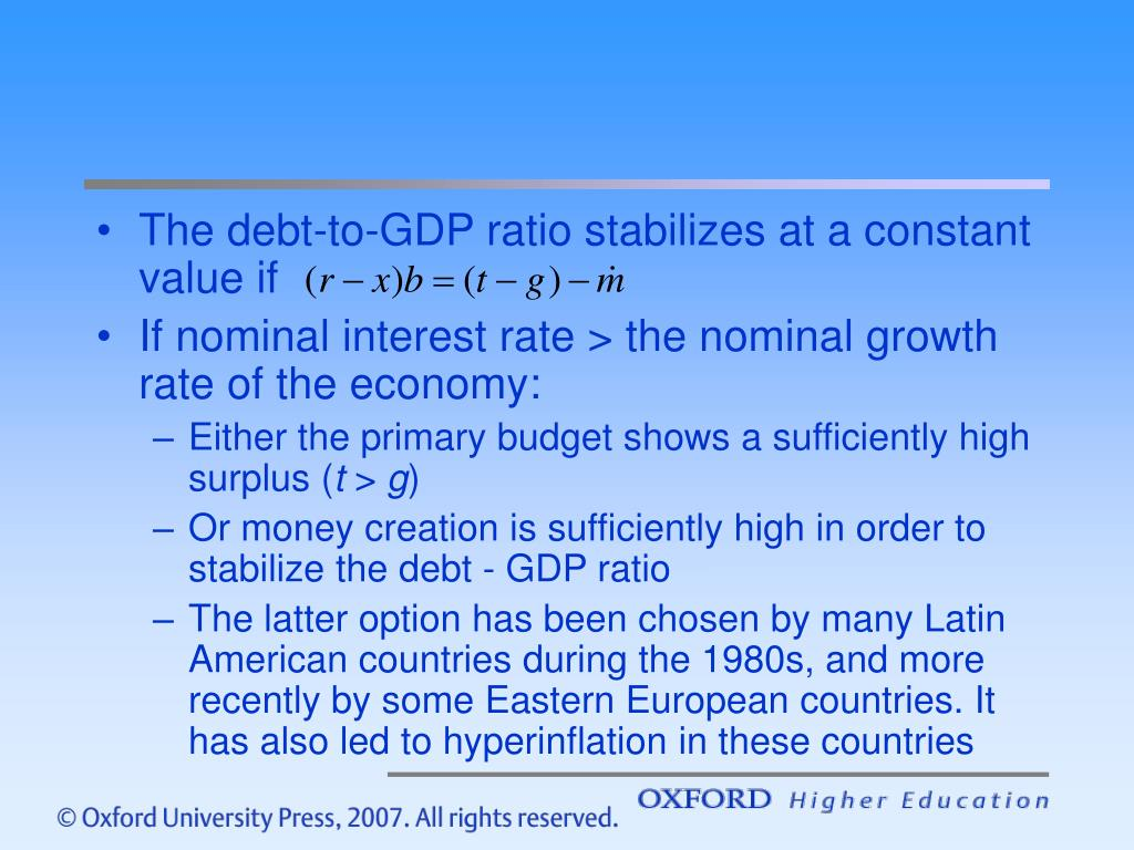 The debt-to-GDP ratio stabilizes at a constant value if