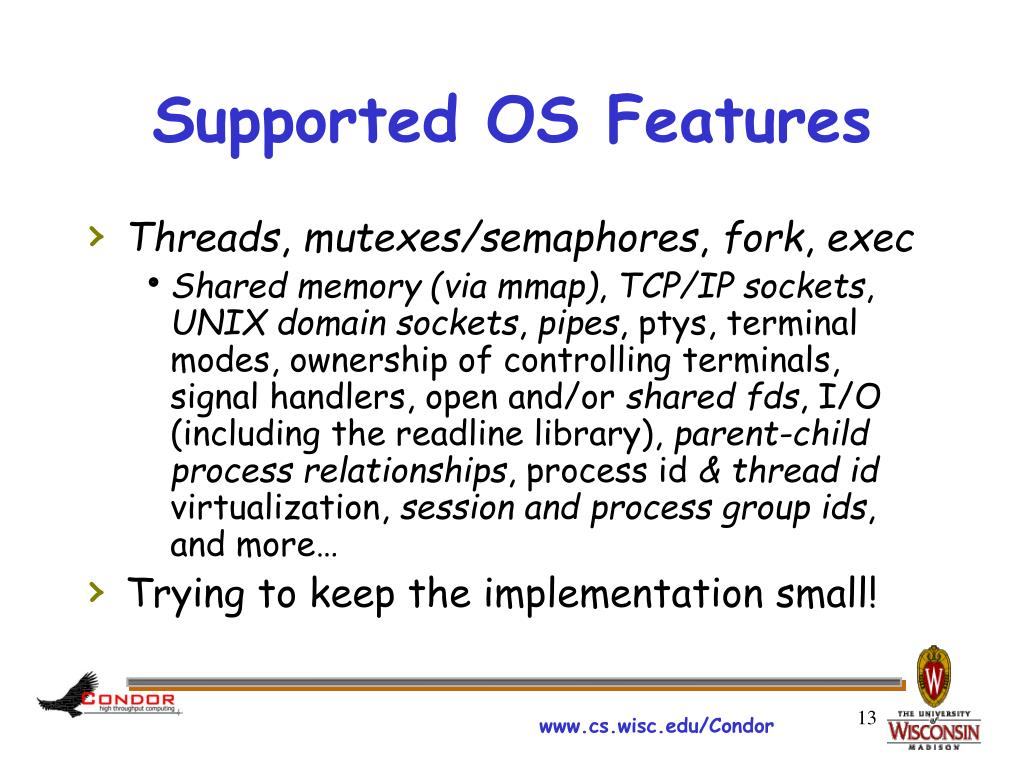 Supported OS Features