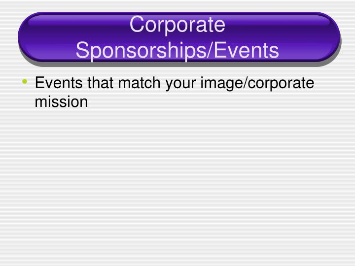 Corporate Sponsorships/Events