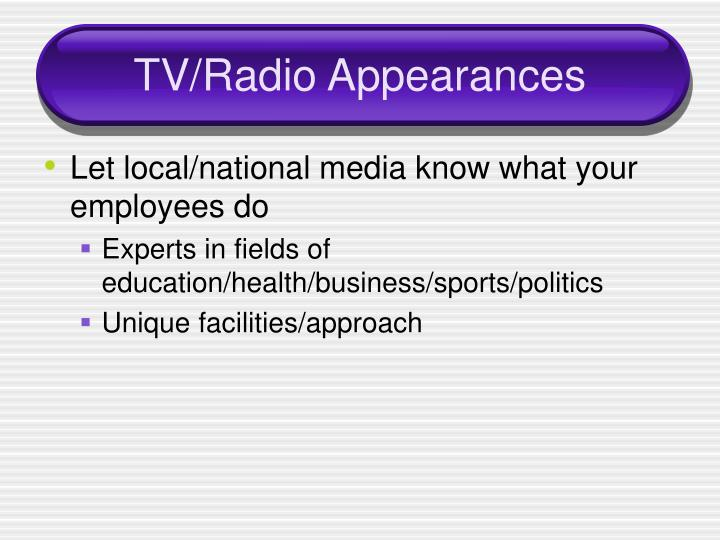 TV/Radio Appearances