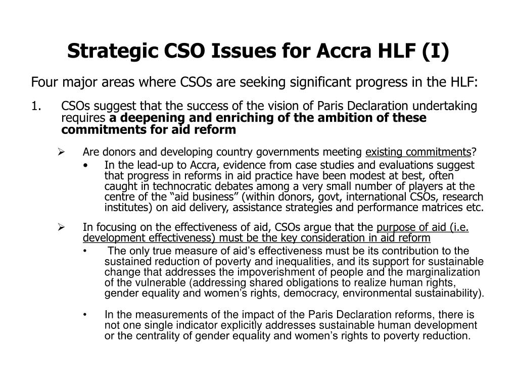 Strategic CSO Issues for Accra HLF (I)