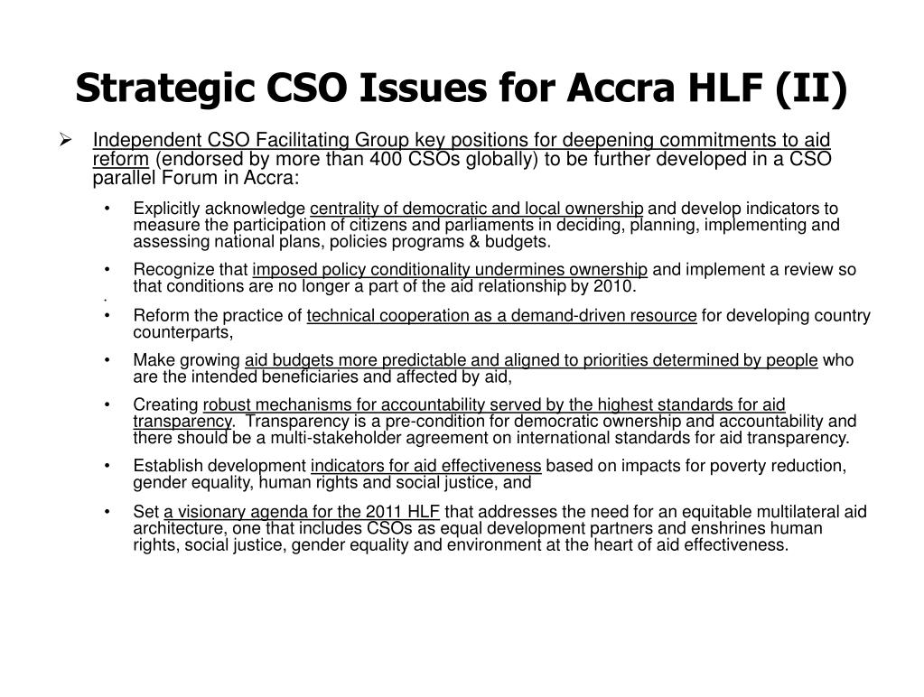 Strategic CSO Issues for Accra HLF (II)
