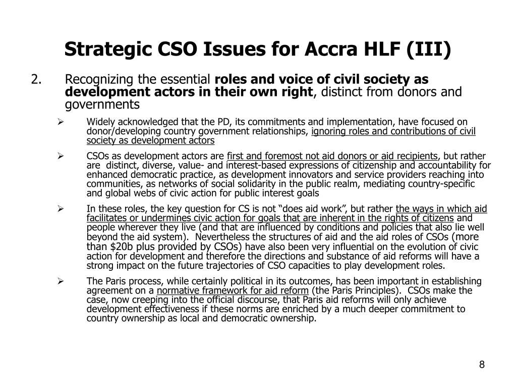 Strategic CSO Issues for Accra HLF (III)
