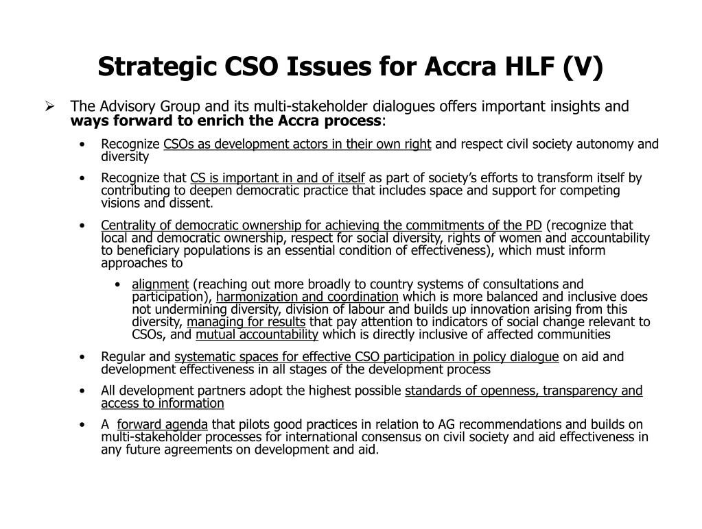 Strategic CSO Issues for Accra HLF (V)
