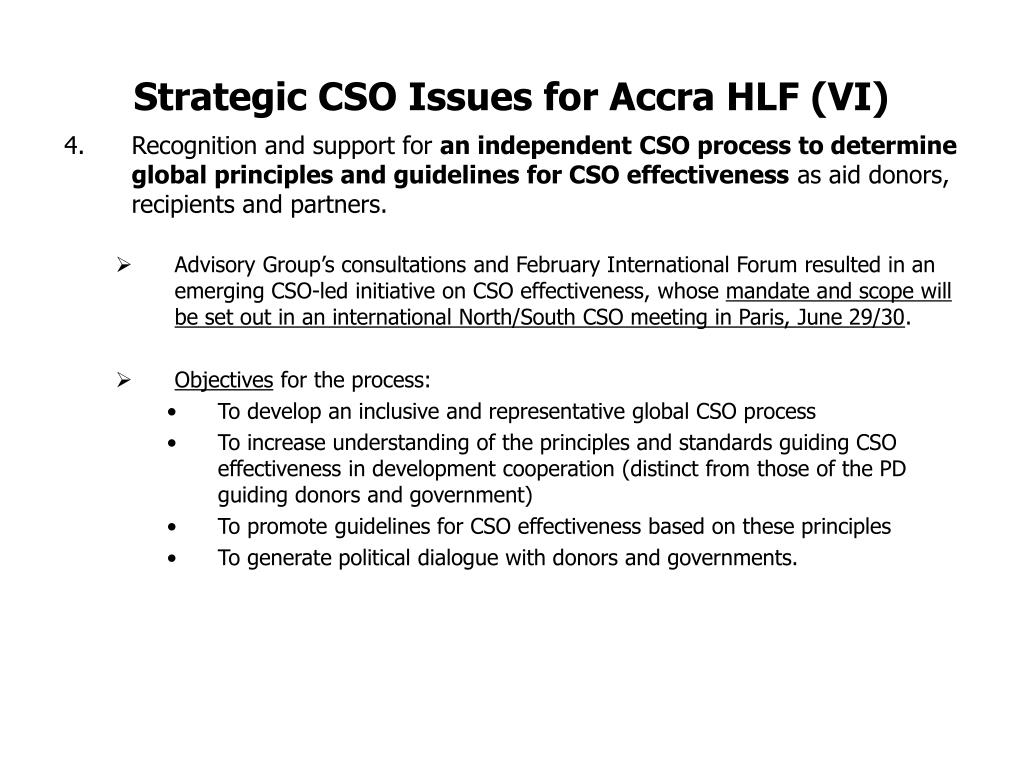 Strategic CSO Issues for Accra HLF (VI)