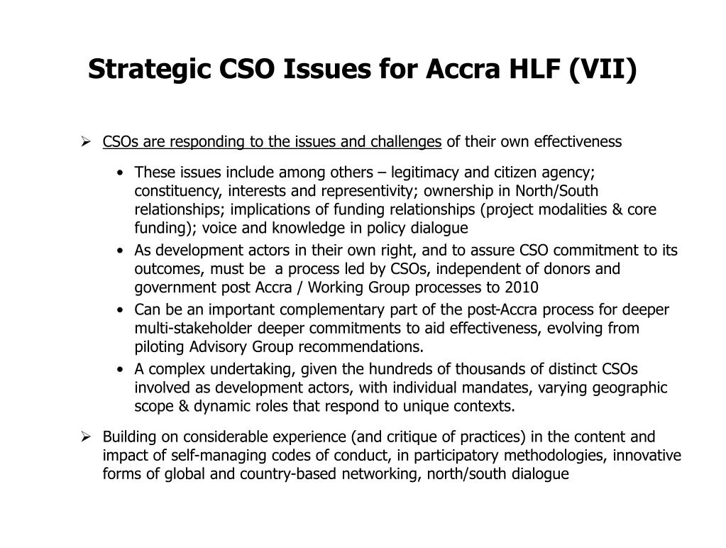 Strategic CSO Issues for Accra HLF (VII)