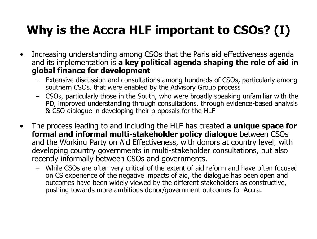 Why is the Accra HLF important to CSOs? (I)