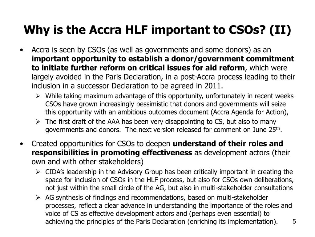 Why is the Accra HLF important to CSOs? (II)