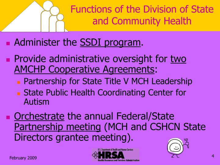 Functions of the Division of State and Community Health
