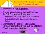 functions of the division of state and community health1