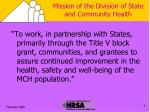 mission of the division of state and community health