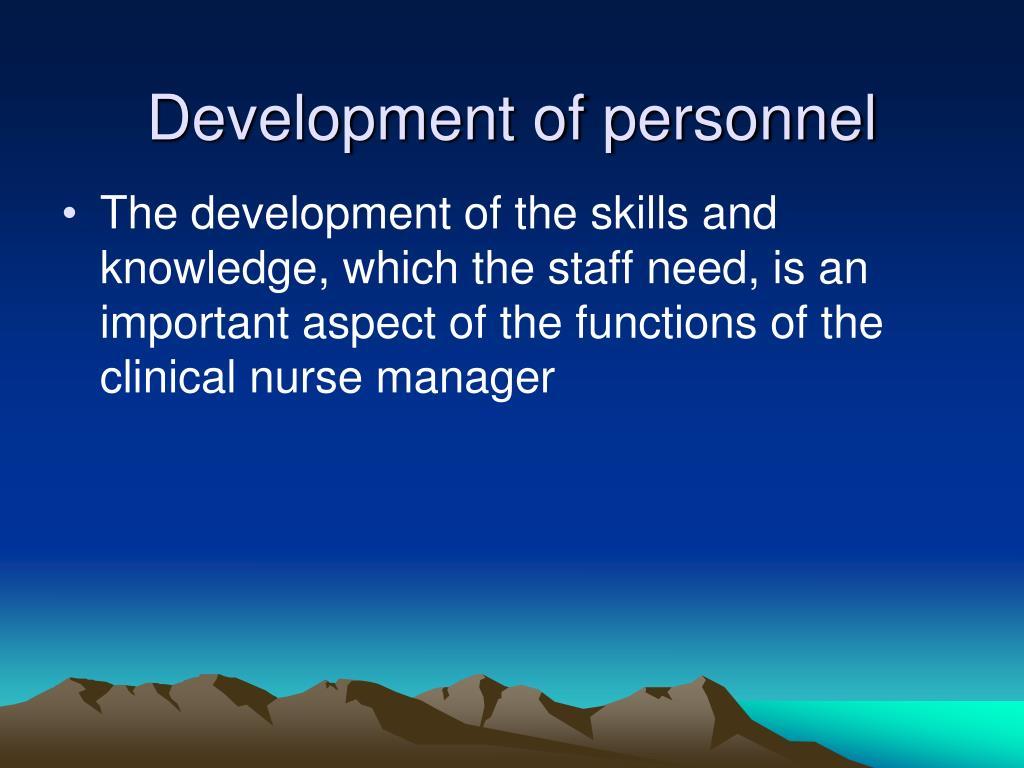 Development of personnel