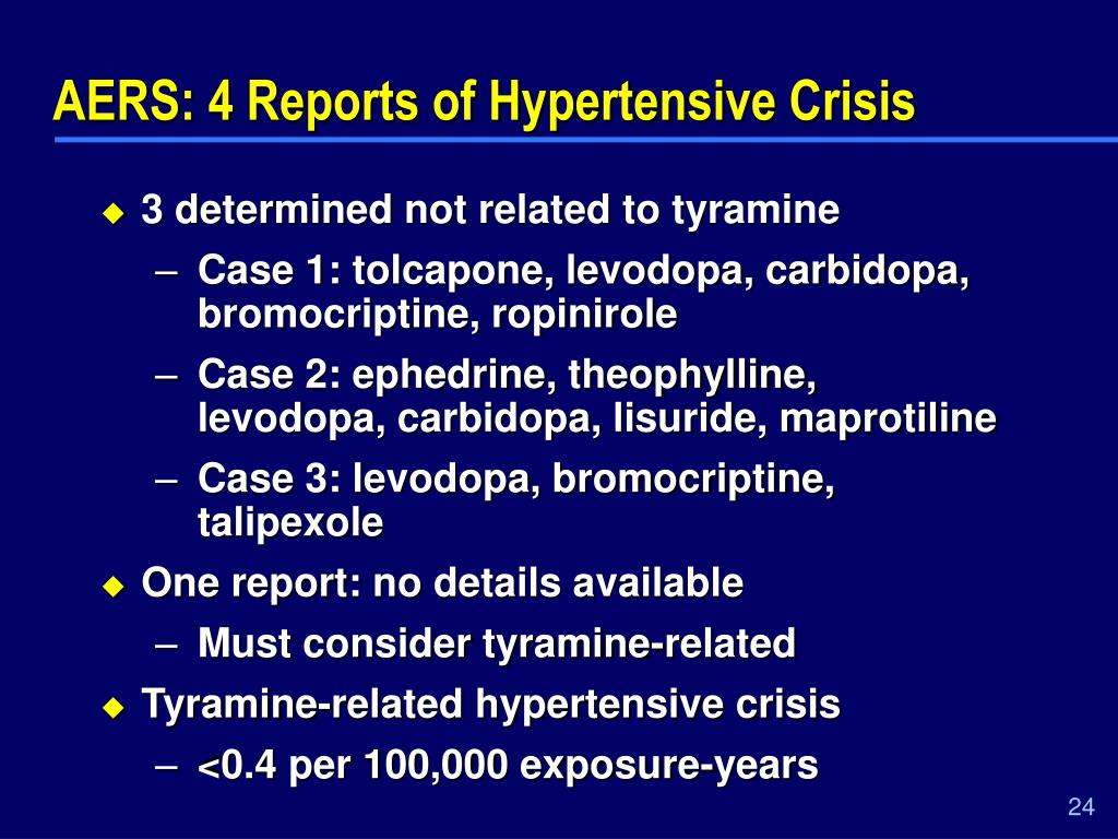 AERS: 4 Reports of Hypertensive Crisis