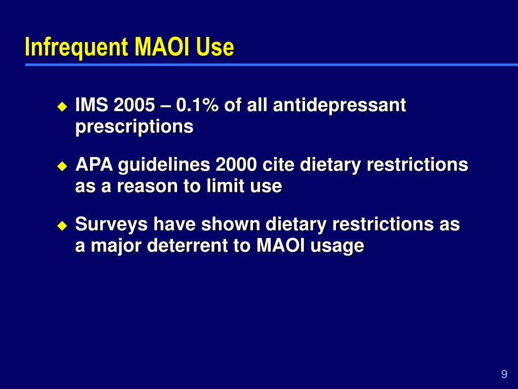 Infrequent MAOI Use