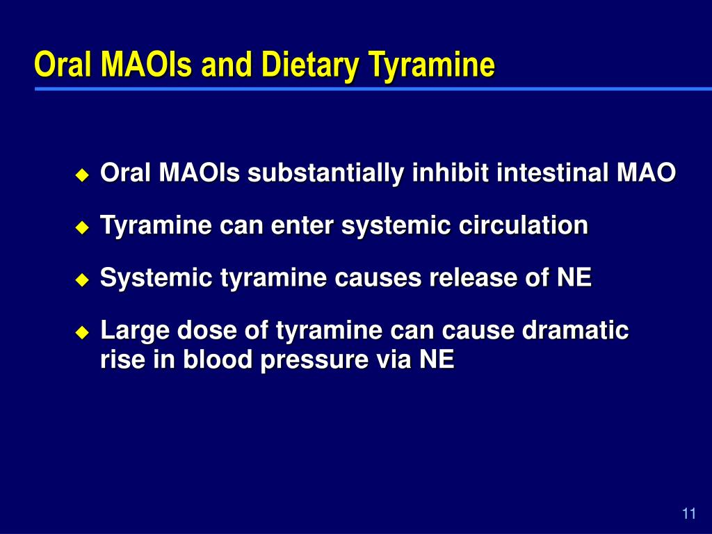 Oral MAOIs and Dietary Tyramine