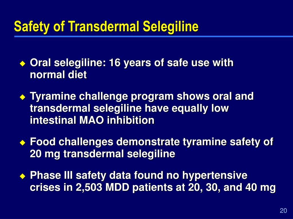 Safety of Transdermal Selegiline