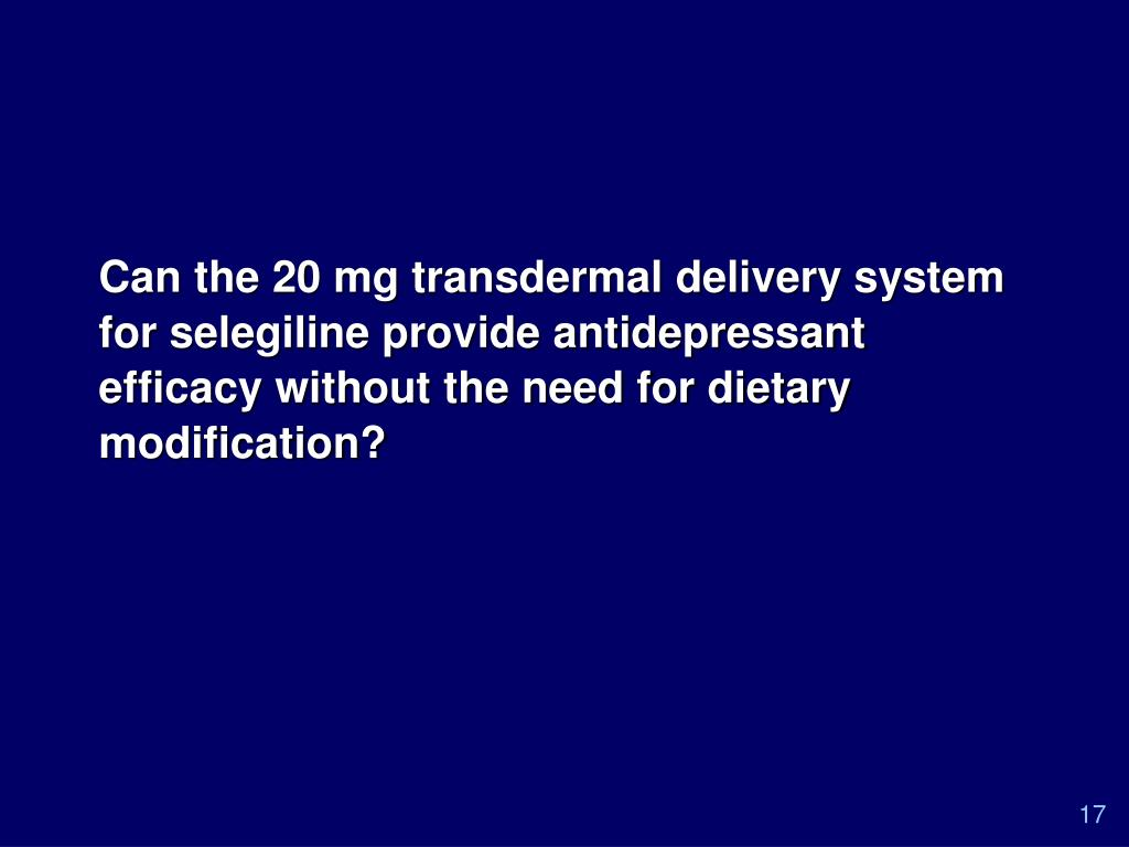 Can the 20 mg transdermal delivery system for selegiline provide antidepressant efficacy without the need for dietary modification?