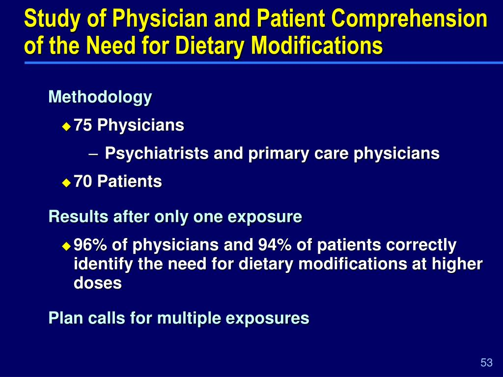 Study of Physician and Patient Comprehension of the Need for Dietary Modifications