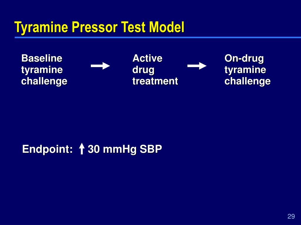 Tyramine Pressor Test Model