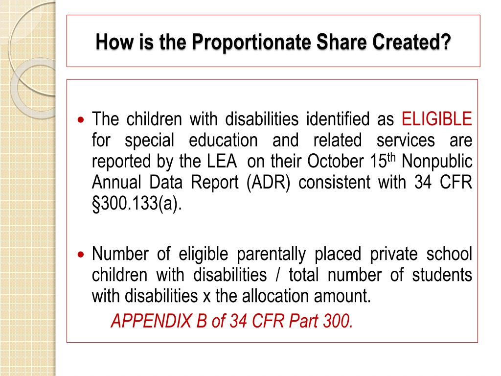 How is the Proportionate Share Created?