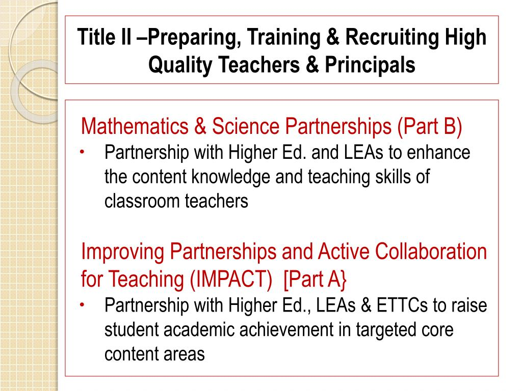Title II –Preparing, Training & Recruiting High Quality Teachers & Principals