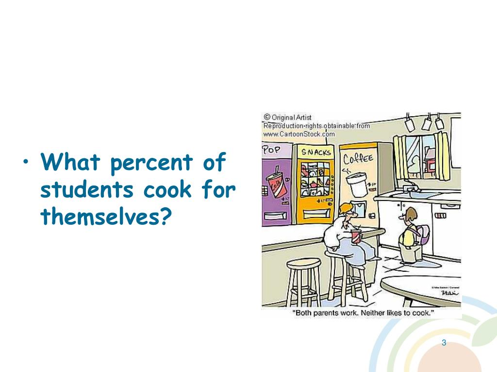 What percent of students cook for themselves?