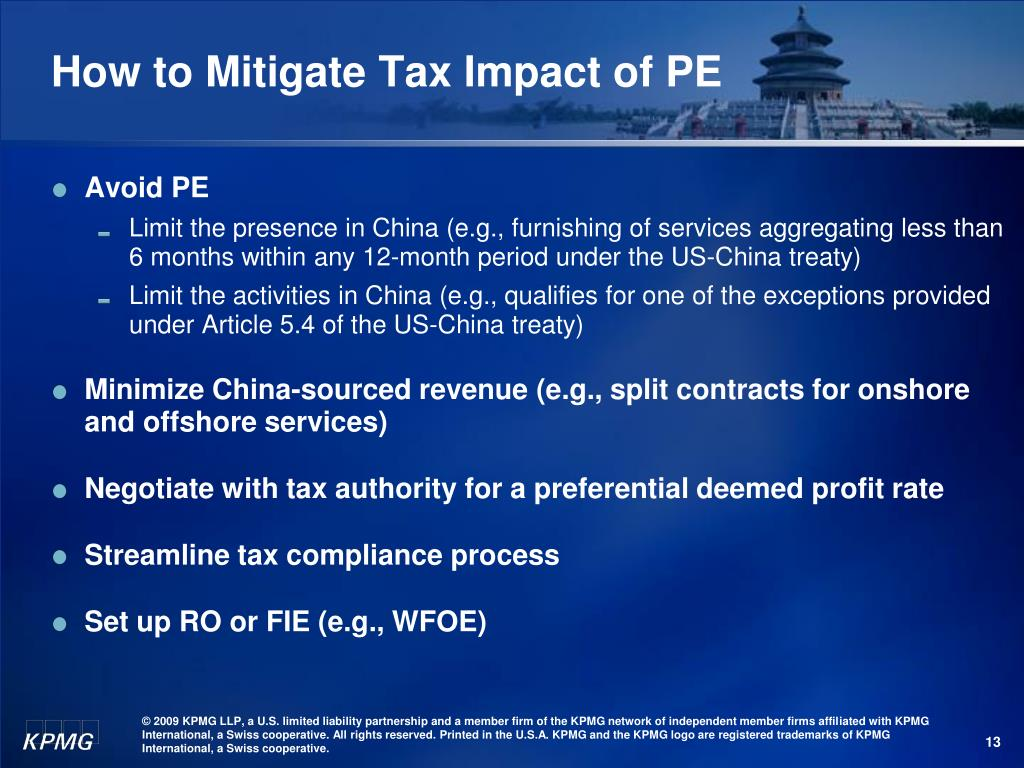How to Mitigate Tax Impact of PE