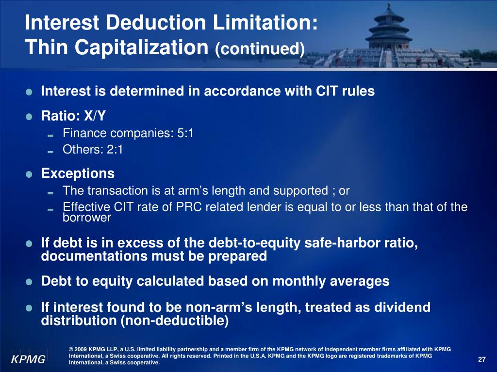 Interest Deduction Limitation: