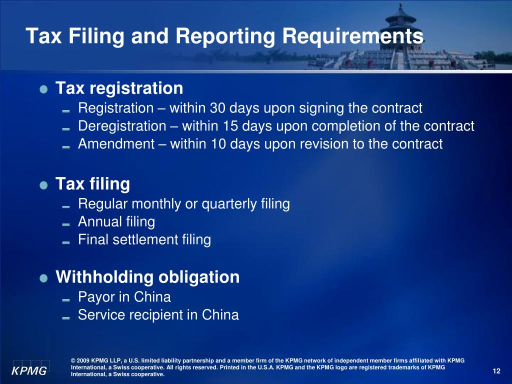 Tax Filing and Reporting Requirements