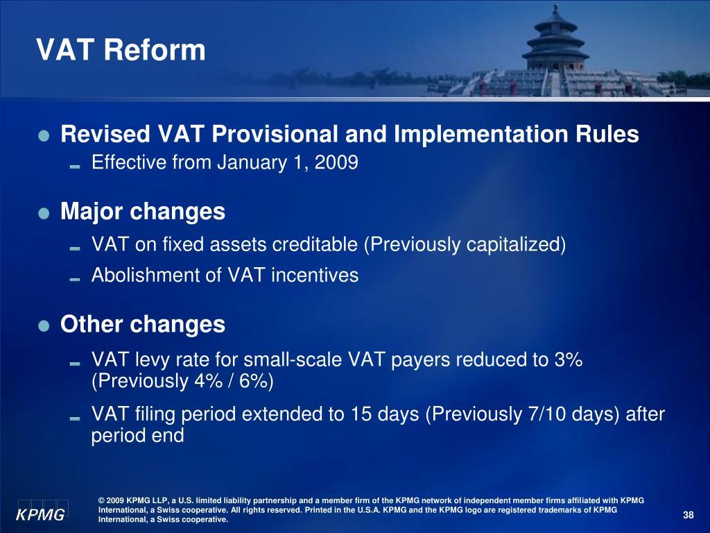 VAT Reform