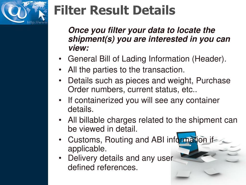Filter Result Details